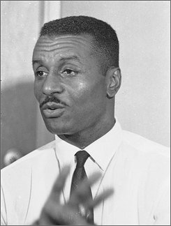 In this May 15, 1963 picture shows civil rights leader Rev. Fred Shuttlesworth holds a news conference in Birmingham, Ala. Directors voted Wednesday, July 16, 2008 to rename the airport in the once-strictly segregated Birmingham for a civil rights leader who staged demonstrations alongside the Rev. Martin Luther King Jr. Birmingham International Airport will become Birmingham Shuttlesworth International Airport once the Federal Aviation Administration approves the change. (AP Photo)