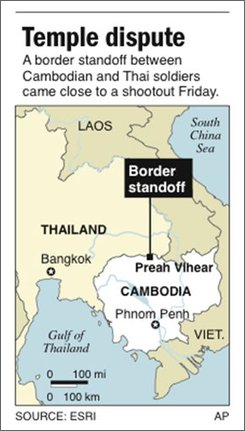 UPDATES chatter; Map locates Preah Vihear temple, center of a long-standing dispute between Cambodia and Thailand; 1c x 3 1/2 inches; 46.5 mm x 88.9 mm