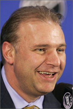 In this May 9, 2008 file photo, Pittsburgh Penguins Head Coach Michel Therrien speaks to the media in Pittsburgh. Therrien agreed do a new three-year contract with the Penguins on Friday, July 18, 2008. (AP Photo/Gene J. Puskar, file)