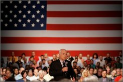 Republican presidential candidate Sen. John McCain, R-Ariz. addresses a town hall meeting at the General Motors Design Center in Warren, Mich., Friday, July 18, 2008.  (AP Photo/Carlos Osorio)