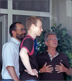 German climbers, from left to right, Martin Georg, Lars Holger Renne and Helmut Johann are seen in front of a security guest house in eastern Turkish city of Agri before leaving for Erzurum to take a flight back home Monday, July 21, 2008. The three were released by their kidnappers, Kurdish rebels,  on the Mount Ararat, near the border with Iran, Sunday. They were kidnapped by Kurdish rebels from their camp at 3,200 meters (10,500 feet) on Mount Ararat on July 8, 2008. (AP Photo/Huseyin Bayram, Anatolia)