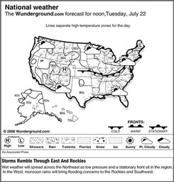 The Weather underground forecast for Tuesday, July 19, 2008, showing wet weather will spread across the Northeast as low pressure and a stationary front sit in the region. In the West, monsoon rains will bring flooding concerns to the Rockies and Southwest. (AP Photo/Weather Underground)