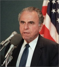 In this May 1986 file photo, Charles Z. Wick speaks in Washington. Wick, who as director of the U.S. Information Agency under Ronald Reagan expanded American broadcasts to Cuba and Russia but whose agency was accused of blacklisting liberals from a government program, died Sunday, July 20, 2008. He was 90. (AP Photo/Barry Thumma)