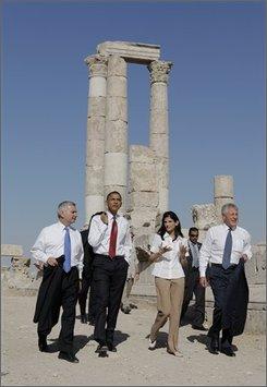 From left, Sen. Jack Reed, D-R.I., Democratic presidential candidate Sen. Barack Obama, D-Ill., conservation architect May Shaer and Sen. Chuck Hagel, R-Neb., tour the citadel in Amman, Jordan, Tuesday, July 22, 2008. (AP Photo/Jae C. Hong)