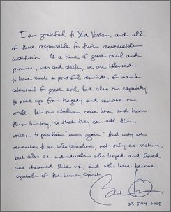 The message written by U.S. Democratic presidential candidate Sen. Barack Obama, D-Ill.,at the Yad Vashem Holocaust Memorial is seen in Jerusalem, Wednesday, July 23, 2008. Barack Obama, after vowing to immediately work for a breakthrough in Israeli-Palestinian peace negotiations if elected U.S. president, plunged into the intricacies of the region's conflict Wednesday with a packed schedule of meetings with Israeli and Palestinian leaders. (AP Photo/Sebastian Scheiner)