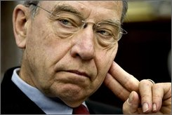 In this May 22, 2008 file photo, Sen. Charles Grassley, R-Iowa, listens to a colleague speak with reporters on Capitol Hill in Washington. Televangelist Kenneth Copeland is one target of a Senate Finance Committee investigation into allegations of questionable spending and lax financial accountability at six large televangelist organizations that preach health-and-wealth theology. Copeland has fought back the hardest, refusing to answer most questions from Grassley. (AP Photo/J. Scott Applewhite, file)