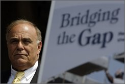 Gov. Ed Rendell is seen during a news conference next to Interstate 95 in Philadelphia, Monday, July 28, 2008. A report released Monday by the American Association of State Highway and Transportation Officials says one out of every four U.S. bridges needs to be modernized or repaired. They estimate that cost to be at least $140 billion. (AP Photo/Matt Rourke)