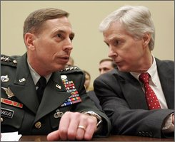 In this April 9, 2008, file photo, Gen. David Petraeus, left, talks with Ambassador to Iraq Ryan Crocker on Capitol Hill in Washington, before the start of the House Foreign Affairs Committee hearing on the status of the war in Iraq. One of the defining features of Gen. Petraeus' tenure as leader of U.S. forces in Iraq is an unusually close partnership with his political counterpart, Crocker. With that connection about to be broken, the question arises