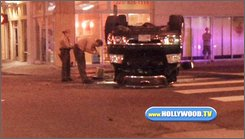 This image made from video provided by WWW.HOLLYWOOD.TV shows the overturned vehicle of actor Shia LaBeouf in Los Angeles on Sunday, July 27, 2008. LaBeouf was arrested on suspicion of drunken driving Sunday after an early morning wreck in which he injured his hand and knee, authorities said. (AP Photo/WWW.HOLLYWOOD.TV)
