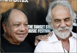 "In this June 26, 2008 file photo, Cheech Marin, left, and Tommy Chong pose together at Sunset Strip Music Festival opening night tribute event in Los Angeles. Now that their feud is up in smoke, Cheech and Chong are high on plans to reunite for their first comedy tour in more than 25 years. Cheech Marin told AP Radio that he and Tommy Chong ""looked at each other going, 'If we're ever going to do something it has to be now because you're not getting any younger and neither am I.'""  (AP Photo/Matt Sayles, files)"