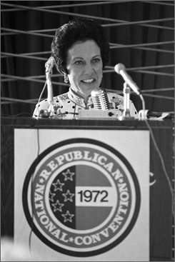 In a Sunday August 20, 1972 file photo, Anne Armstrong tries the microphone in Miami Beach's Convention Hall as she prepares to make a keynote speech at a GOP convention, the first woman ever to do so.  Armstrong, a longtime powerful Republican who served as U.S. ambassador to Great Britain in the Ford administration, died Wednesday, July 30, 2008, her office said. She was 80.    (AP Photo, File)