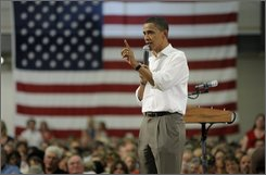 Democratic presidential candidate, Sen. Barack Obama, D-Ill., speaks at a town hall-style meeting in Rolla, Mo., Wednesday, July 30, 2008. (AP Photo/Jae C. Hong)