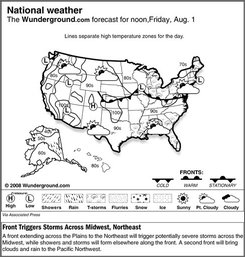 The forecast for noon, Aug. 1, 2008 shows a front extending across the Plains to the Northeast will trigger potentially severe storms across the Midwest, while showers and storms will form elsewhere along the front. A second front will bring clouds and rain to the Pacific Northwest. (AP Photo/Weather Underground)