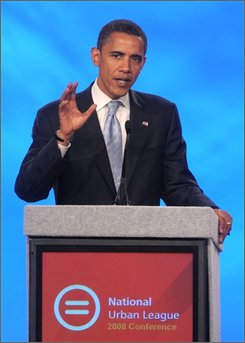 Democratic presidential candidate Sen. Barack Obama, D-Ill., addresses attendees of the National Urban League conference in Orlando, Fla., Saturday, Aug. 2, 2008. (AP Photo/Phelan M. Ebenhack)