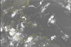  This NOAA satellite image taken Monday, August 4, 2008 at 2:15 a.m. EDT shows clouds in the Gulf of Mexico where Edouard continues to strengthen.  The storm is expected to reach near hurricane strength before making landfall in Texas or Louisiana. (AP PHOTO/WEATHER UNDERGROUND)