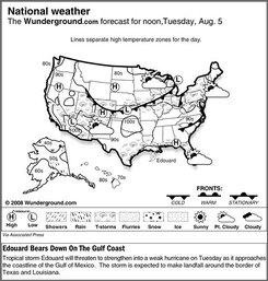 Tropical storm Edouard will threaten to strengthen into a weak hurricane on Tuesday as it approaches the coastline of the Gulf of Mexico. The storm is expected to make landfall around the border of Texas and Louisiana. (AP Photo/Weather Underground)