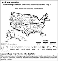 The Weather Underground forecast for Wednesday, Aug. 6, 2008, shows the remnants of Edouard will bring strong winds, heavy rain, and flooding to southeastern Texas on Thursday.  Meanwhile to the north, a front moves over the Ohio River Valley and could trigger some foul weather. (AP Photo/Weather Underground)