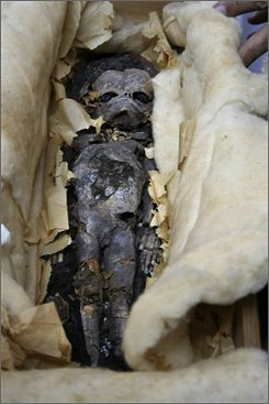 In this undated photo released by the Egyptian Supreme Council of Antiquities on Wednesday, Aug. 6, 2008, one of the  two mummified fetuses found in the tomb of King Tutankhamun in 1922 is seen during preparations for a DNA test in Cairo,   Egypt. Egyptian scientists are carrying out DNA tests on two mummified fetuses found in the tomb of King Tutankhamun to determine whether they are the young pharaoh's children, Egyptian antiquity authorities said Wednesday. (AP Photo/Supreme Council of Antiquities)