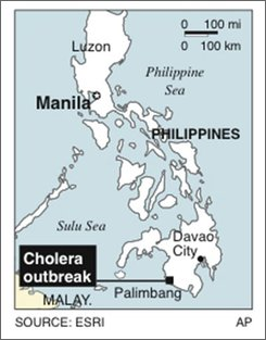 Map locates Palimbang, Philippines, where a cholera outbreak killed 18 and sickened at least 50; 1c x 2 5/8 inches; 46.5 mm x 66.7 mm