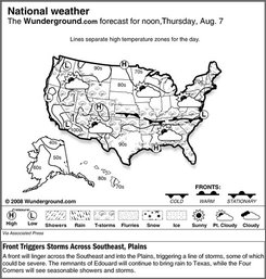 A front will linger across the Southeast and into the Plains, triggering a line of storms, some of which could be severe Thursday Aug. 7, 2008. The remnants of Edouard will continue to bring rain to Texas, while the Four Corners will see seasonable showers and storms.  (AP Photo/Weather Underground)