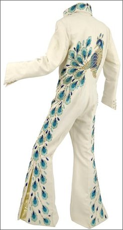 "In this handout photo provided by Gotta Have It! Collectibles, the ""Peacock"" jumpsuit worn by Elvis Presley is seen in this undated photo.   Elvis Presley's favorite performance costume could set a record as the most expensive piece of Elvis memorabilia sold at auction.  (AP Photo/ Gotta Have It! Collectibles)"