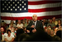 Republican presidential candidate Sen. John McCain, R-Ariz. addresses the crowd during a town hall meeting, Thursday, Aug. 7, 2008, at the Veterans Memorial Civic and Convention Center in Lima, Ohio. (AP Photo/Skip Peterson)