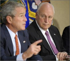 In this July 11, 2008 file photo, Vice President Dick Cheney looks on as President Bush makes a statement on energy at the Energy Department in Washington.  Will he or won't he? Cheney is one of the nation's most prominent Republicans, but there are doubts about whether he will attend the GOP convention.(AP Photo/Evan Vucci, File)