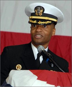 This image provided by the U.S. Air Force shows Cmdr. Shawn Bentley, Fleet Air Reconnaissance Squadron (VQ-3) commander, addressing the audience during VQ-3's change of command ceremony April 18, 2008. Bentley, the commander of a Navy air reconnaissance squadron that provides the president and the defense secretary the airborne ability to command and control the nation's nuclear submarines, bombers and missile silos has been relieved of duty for loss of confidence in his ability to command, the Navy said Tuesday Aug. 12, 2008. (AP Photo/U.S. Air Force, Tim Greels)