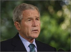  President Bush makes a statement about conditions in Russia and Georgia, Friday, August 15, 2008, outside of the Oval Office of the White House in Washington, prior to departing for his Texas ranch for vacation.   (AP Photo/Ron Edmonds)