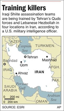 Map locates four cities in Iran where Iraqi assassins are being trained;