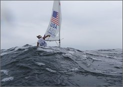 U.S. sailor Anna Tunnicliffe sails to the start of race four of the Laser Radial Women class sailing competition of the 2008 Beijing Olympics in Qingdao, about 720 kilometers southeast of Beijing, Friday, Aug. 15, 2008. (AP Photo/Herbert Knosowski)