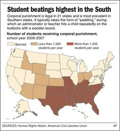  Map shows number of students receiving corporal punishment, by state, school year 2006-2007.