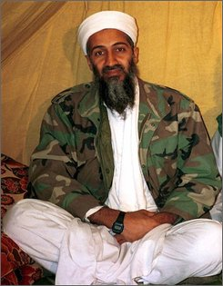 This is an undated photo of Osama bin Laden in Afghanistan. The U.S. cruise missile strike on an al-Qaida training camp in Afghanistan in 1998 was meant to kill Osama bin Laden. But he apparently left shortly before the missiles struck, and U.S. documents declassified on Wednesday, Aug. 20, 2008 suggest the attack cemented an alliance with his Taliban protectors. (AP Photo)