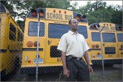School bus driver Jamille Aine is photographed on July 17, 2008 in Greenwich, Conn.  Aine's employer doesn't offer paid sick days, so if he can't shake the bug, he may not be able to pay his bills. Some 46 million U.S. workers lack paid sick days and lawmakers in 12 states -- including California, Connecticut, Minnesota and West Virginia -- have proposed legislation in the past year that would require businesses to provide them. (AP Photo/Douglas Healey)