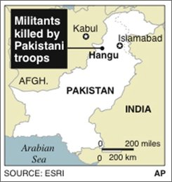Map locates Hangu, Pakistan, where at least 16 militants and a suicide bomber were killed by Pakistani troops;