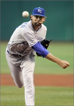Kansas City Royals' Luke Hochevar pitches against the Cleveland Indians in the first inning of a baseball game Tuesday, Aug. 19, 2008, in Cleveland. (AP Photo/Mark Duncan)