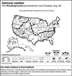 The Weather Underground forecast for Tuesday, Aug. 26, 2008, showing torrential rains will continue to inundate the Southeast as Fay remains nearly stationary over the region.  Monsoon rains will continue across the Southern Rockies while temperatures in the West begin to climb. (AP Photo/Weather Underground)