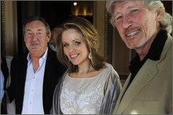 From left:-  Nick Mason of British prog. rock group Pink Floyd,  American soprano Renee Fleming and Roger Waters of Pink Floyd during a press conference at Stockholm's Grand Hotel Monday Aug. 25 2008. On Tuesday evening they will be awarded at the Polar Music Prize gala ceremony, being held at Stockholm Concert Hall. (AP Photo / Leif R Jansson/ SCANPIX)