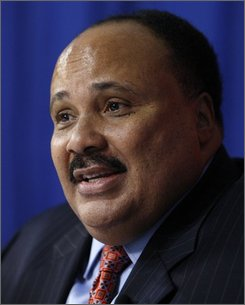 Martin Luther King III is seen during an AP interview at the Democratic National Convention in Denver, Wednesday, Aug. 27, 2008.  (AP Photo/Chris Carlson)