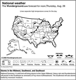 The forecast for noon, Thursday, Aug. 28, 2008 shows a cold front will bring storms to the Upper Midwest. Heavy rain and thunderstorms will persist in the Southeast as remnants of Fay move northeastward. The Southwest will see storms fueled by monsoon moisture. (AP Photo/Weather Underground)