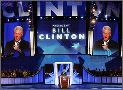 Former President Bill Clinton speaks at the Democratic National Convention in Denver, Wednesday, Aug. 27, 2008.  (AP Photo/Ron Edmonds)