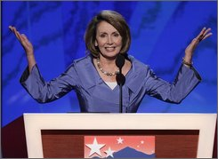 House Speaker Nancy Pelosi, D-Calif., asks for nomination by acclamation for Democratic vice presidential candidate Sen. Joe Biden, D-Del., at the Democratic National Convention in Denver, Wednesday, Aug. 27, 2008. (AP Photo/Ron Edmonds)