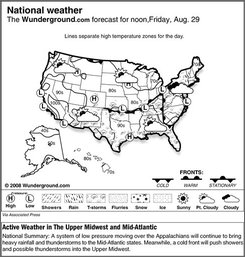The forecast for noon, Friday, Aug. 29, 2008 shows a system of low pressure moving over the Appalachians will continue to bring heavy rainfall and thunderstorms to the Mid-Atlantic states. Meanwhile, a cold front will push showers and possible thunderstorms into the Upper Midwest. (AP Photo/Weather Underground)