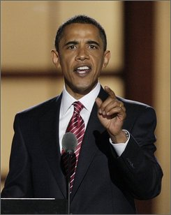 Democratic presidential nominee, Sen. Barack Obama, D-Ill., makes a point during his acceptance speech at the Democratic National Convention in Denver, Thursday, Aug. 28, 2008.  (AP Photo/Ron Edmonds)