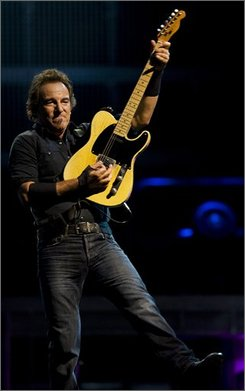 Bruce Springsteen performs at the Harley Davidson 105th anniversary celebration Saturday, Aug. 30, 2008, in Milwaukee. (AP Photo/Morry Gash)