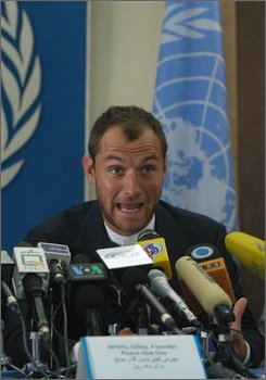 "British actor Jude Law speaks during a press conference in Kabul, Afghanistan, Monday, Sept. 1, 2008. Oscar-nominated Law returned to war-ravaged Afghanistan Sunday to help keep a momentum around Peace Day - an annual day of global cease-fire and nonviolence on Sept. 21. Law helped director Jeremy Gilley produce his second documentary film, called ""The Day After Peace."" (AP Photo/Ahmad Massoud)"