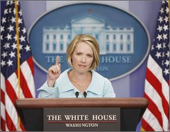 White House Press Secretary Dana Perino speaks to members of the media, Tuesday, Sept. 2, 2008, during the daily briefing in the White House press room in Washington. (AP Photo/Pablo Martinez Monsivais)