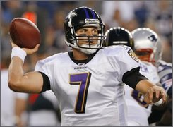 In this Aug. 7, 2008, file photo, Baltimore Ravens quarterback Kyle Boller looks for a receiver during an NFL preseason football game against the New England Patriots in Foxborough, Mass. Boller was placed on injured reserve by the Baltimore Ravens on Wednesday Sept. 3, 2008, ending his season and perhaps his stay with the team.  (AP Photo/Stephan Savoia, File)