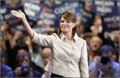 Republican vice presidential candidate Sarah Palin waves to the crowed at the end of her speech at the Republican National Convention in St. Paul, Minn., Wednesday, Sept. 3, 2008. (AP Photo/Paul Sancya)