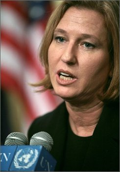 In this July 31, 2008 file picture, Israel's Foreign Minister Tzipi Livni speaks during a press briefing at the United Nations in New York.  (AP Photos/Bebeto Matthews)